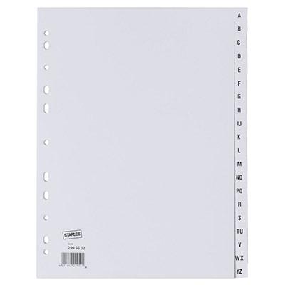 Intercalaires alphabétiques A4 en carte - 20 divisions - blanc - jeu 20 feuilles (photo)