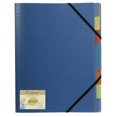 Trieur à élastiques Exacompta Forever 250 feuilles A4 8 divisions - 3 rabats - intercalaires multicolores polypropylène recyclé bleu