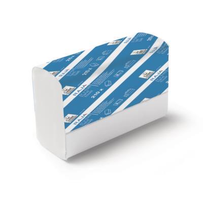Serviettes en papier pliées - double épaisseur - pliage en V ou en accordéon - 210 feuilles - gaufrées - 210 mm - blanc - carton 15 x 210 unités