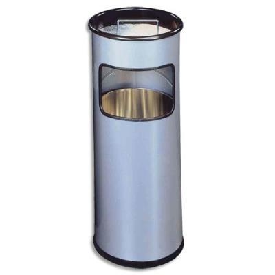 Poubelle ronde avec cendrier à sable - 16 litres - coloris argenté (photo)