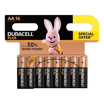 Pile alcaline AA / LR6 Plus Duracell - offre spéciale Pack de 16 piles