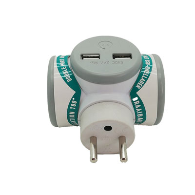 Chargeur multiprise Biplite Watt&Co - USB - rotatif - blanc