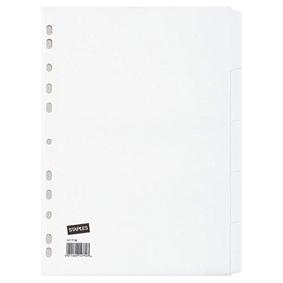 Intercalaires neutres A4 en carte - 5 divisions - blanc - jeu 5 feuilles