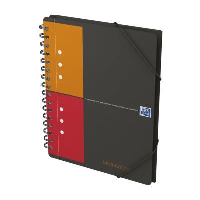 Cahier chemise Oxford Meetingbook - reliure spirales - A5+ - 160 pages - petits carreaux - feuilles perforées détachables - 3 rabats + élastique