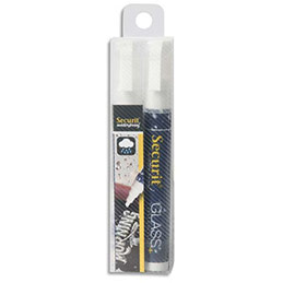 Feutres-craie waterproof à encre liquide Securit - trait 2-6 mm - blanc - lot de 2 feutres (photo)