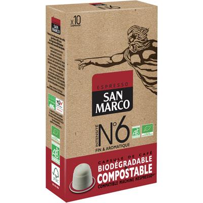Capsule café bio San Marco - pour machine Nespresso - ristretto intensité n°6 - paquet 10 capsules