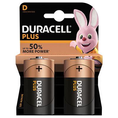 Pile Duracell D LR20 Plus Power alcalines - 1,5V - blister de 2 piles (photo)