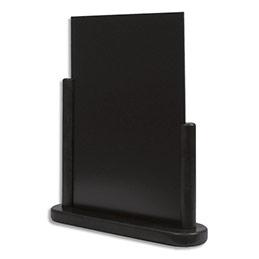 Ardoise de table Securit - large en bois avec finition noir laqué - L21 x H30 cm (photo)