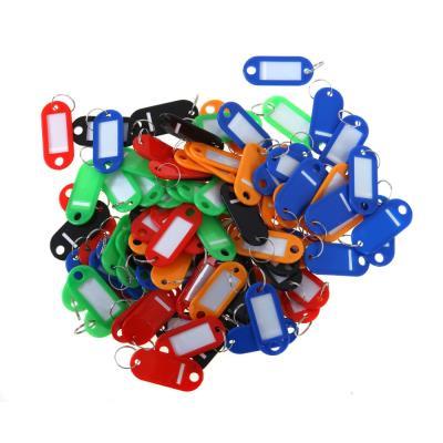 Porte-clés à étiquette Pavo - plastique - couleurs assorties - sachet de 100 (photo)
