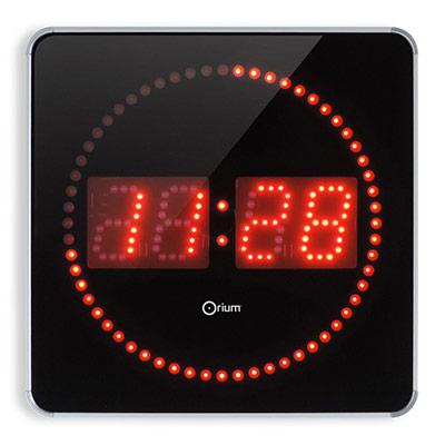 Horloge digitale à Led 2en 1 - 28 cm - alu / noir (photo)