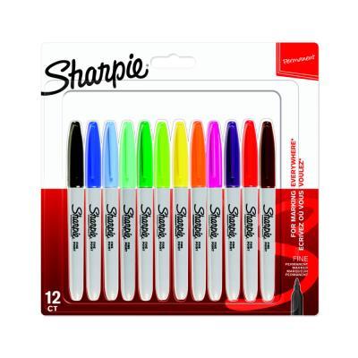 Marqueur permanent Sharpie - pointe ogive fine - blister 12 couleurs assorties