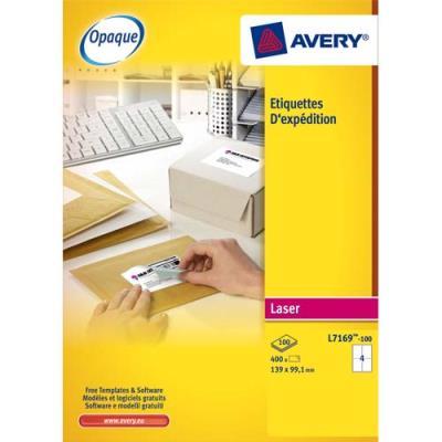 Etiquette adresse opaque Avery L7168 - impression laser - 199,6 x 143,5 mm - blanc - 200 étiquettes (photo)