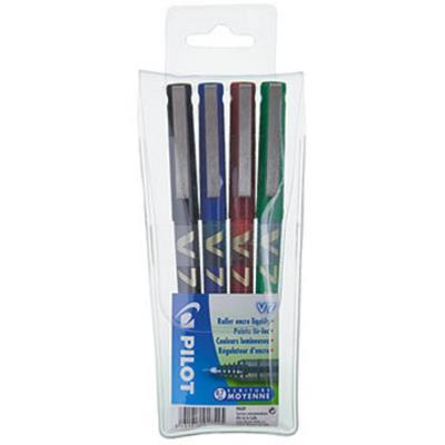 Pochette de 4 stylos Pilot  Hi-Tecpoint Bx-V7 - feutre pointe tubulaire - 0.4 mm - encre liquide 4 couleurs