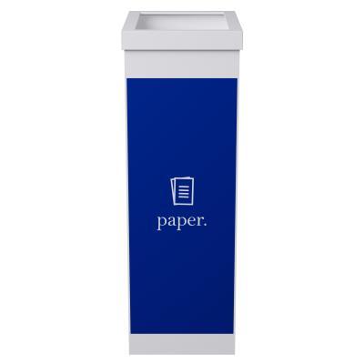 Corbeille de tri sélectif pour le recyclage du papier Paperflow - 60 litres - corps blanc - bleu