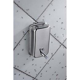 Distributeur de savon en inox brossé - capacité 1L - fermeture à clé - L10,5 x H20,5 x P11,5 cm (photo)