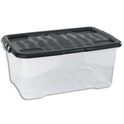 Boîte de rangement Strata avec couvercle cristal - capacité 42 Litres - L60 x H25,2 x P39,7 cm - noire