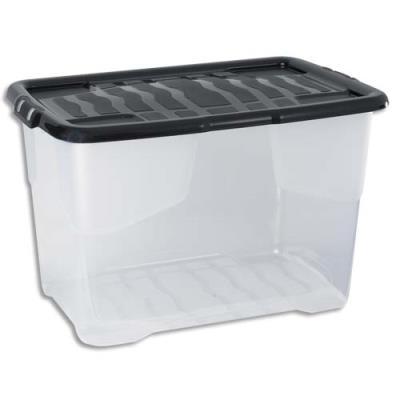 Boîte de rangement Strata avec couvercle cristal - capacité 65 Litres - L60 x H37,8 x P39,7 cm - noire