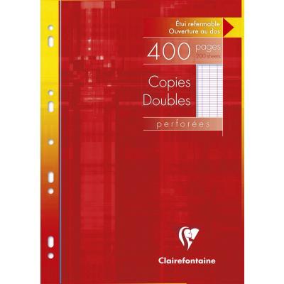 Copies doubles perforées Clairefontaine - blanche 21x29.7cm - 400 pages grands carreaux - 90g - Sous étuis carton (photo)