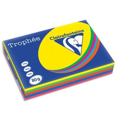 Papier couleur Trophée - coloris assortis intense soleil - menthe - cardinal - bleu - fuschia - 80g - A3 - ramette 5 x 100 feuilles