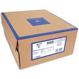 Enveloppes 110x220 Clairefontaine - fenêtre 45x100 - vélin blanc 80g PEFC - fermeture auto-adhésive - boite de 500 (photo)