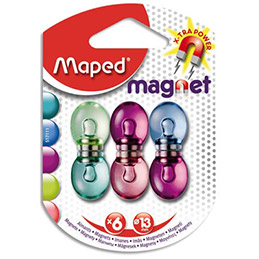 Aimants Maped diamètre 13 mm - format rond - coloris assortis translucide - blister de 6 (photo)