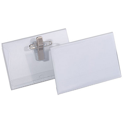 Badge combi pince + épingle Durable - format 5,4 x 9 cm - boite de 50 (photo)