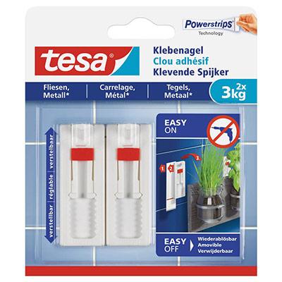 Clous adhésifs ajustables Tesa - pour carrelage et métal - charge 3 kg - L1,3 x H14 x P1,4 cm - boîte de 2 (photo)