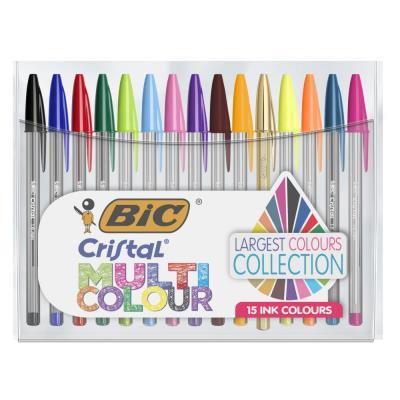 Stylos bille Bic Cristal Multicolor - pointe large + medium - coloris assortis classiques + fantaisie - pack de 15