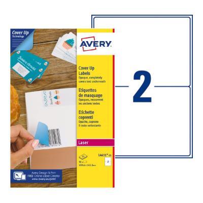 Étiquettes de masquage permanentes L4611 Avery - pour imprimante laser - opaques - 199,6 x 143,5 mm - blanc - 50 étiquettes par boîte (photo)