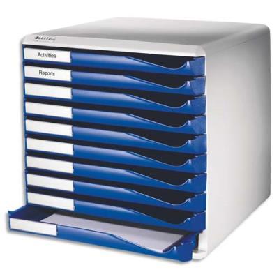 Bloc de classement Esselte 10 tiroirs A4 bleus structure grise 29x28,7x35,5 cm (photo)