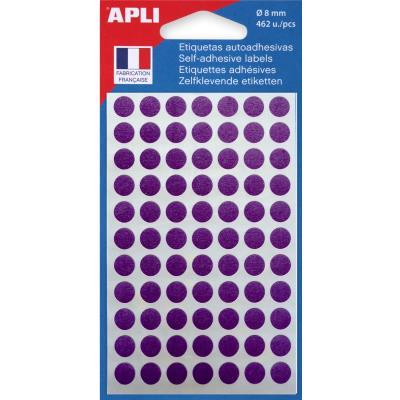 Pastilles adhésives de couleur Agipa Ø 8 mm - pochette de 462 - coloris violet