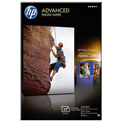 Papier photo brillant HP - A6 - blanc - 250g - Advanced pour Jet d'encre - boîte de 25 feuilles