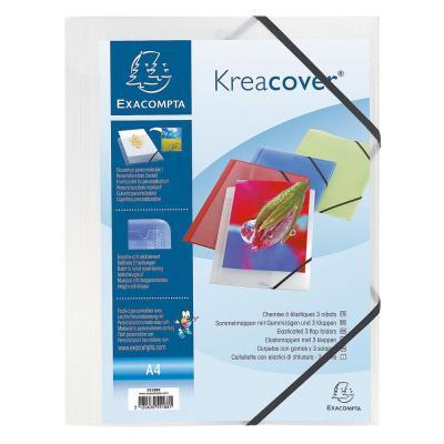 Chemise personnalisable 1 face à élastique Exacompta Kreacover - polypropylène - blanc transparent
