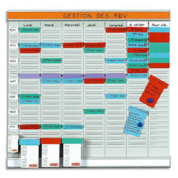 Planning à fiches Acco en T Office Planner - 7 bandes de 24 fiches (photo)