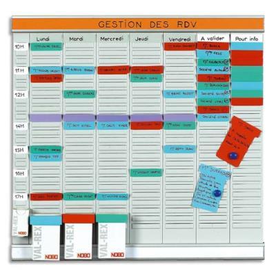 Planning à fiches Acco en T Office Planner - 7 bandes de 24 fiches (photo)