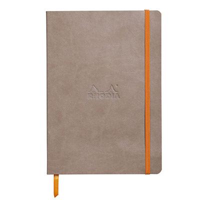 Carnet Rhodiarama - 14,8 x 21 - 160 pages - ligné - couverture simili-cuir gris taupe