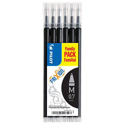 Recharge Pilot pour stylo à encre gel FriXion - pointe moyenne de 0,7 mm - encre noire