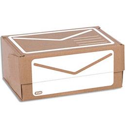 Boîte d'expédition en carton ondulé Elba - simple cannelure - Format A5+ - L23 x H10 x P16,5 cm - brun blanc (photo)