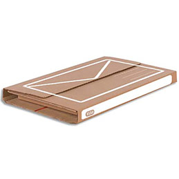 Etui d'expédition en carton ondulé brun blanc Elba - simple cannelure - L32 x H3,5/8 x P29 cm (photo)