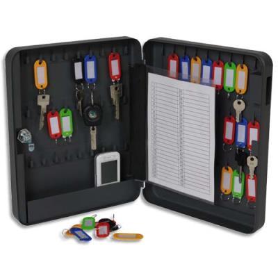 Armoire à clés Pavo - serrure clé - capacité 54 clés - L24 x H30 x P6 cm - gris foncé (photo)