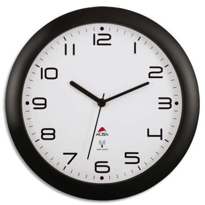 Horloge murale Alba - radio-piloté Hornew - diam 30 cm - coloris noir (photo)