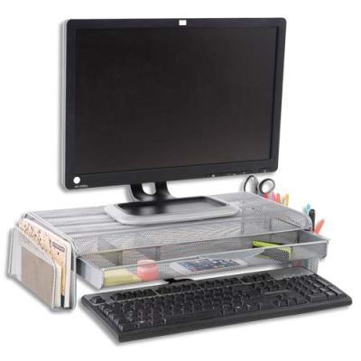 Support écran Mesh Alba - avec espace de rangement - L55 cm x largeur 25 + 2 x H12,5 cm - gris