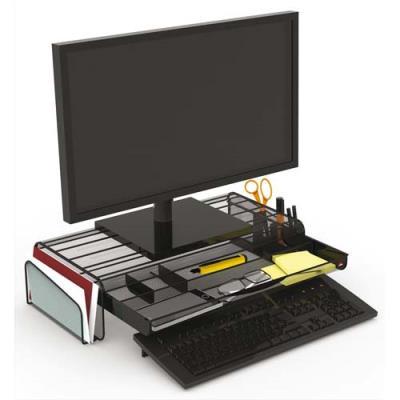 Support écran Mesh Alba - avec espace de rangement - L55 cm x largeur 25 + 2 x H12,5 cm - noir