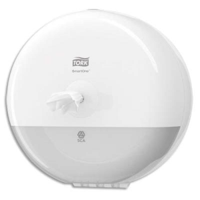 Mini Distributeur de papier toilette en rouleau Tork SmartOne blanc ABS - D21,9 cm x H15,6 cm (photo)