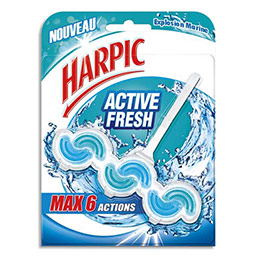 Bloc WC Harpic Activ Fresh 6 actions - pour cuvettes - parfum marine (photo)