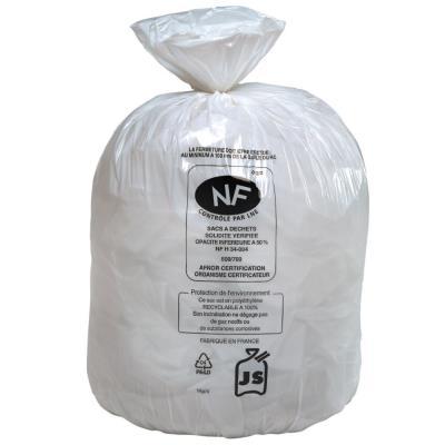 Sacs poubelle blancs qualité NF - 30 Litres - 20 microns - boîte de 500