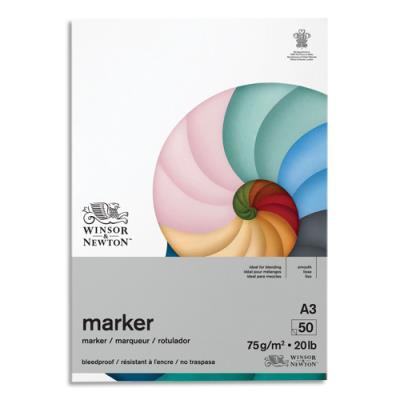 Bloc de 50 feuilles de papier Winsor & Newton Bleedproof A3 - 75g - papier spécifique pour Promarker (photo)