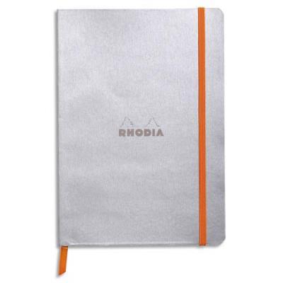 Carnet Rhodia Rhodiarama - couverture simili-cuir - 14,8 x 21 cm - 160 pages - lignées - argent