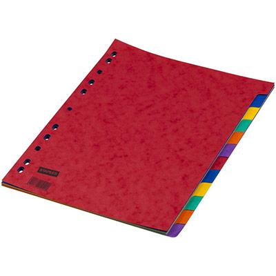 Intercalaires neutres A4 en carte - 12 divisions - assortis - jeu 12 feuilles