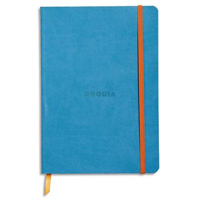 Carnet Rhodia Rhodiarama - couverture simili-cuir - 14,8 x 21 cm - 160 pages - lignées - turquoise